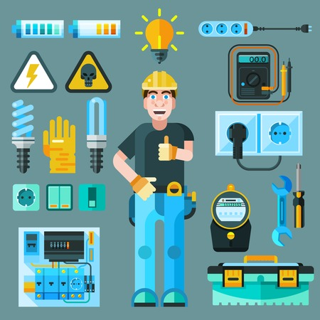electricity export: Electrician icons set with electricity and energy symbols flat isolated vector illustration Illustration