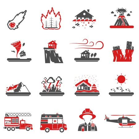 quake: Natural disasters red black icons set with drought hazard and earth quake symbols abstract isolated vector illustration