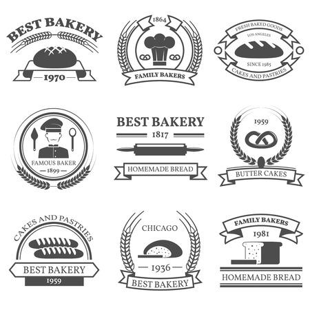 comida rica: Panadería blanco y emblemas conjunto negro con pan y pasteles símbolos ilustración del vector aislado plana