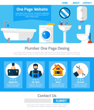 submit button: Plumber service one page website design with infographic elements submit button and contact information flat abstract vector illustration