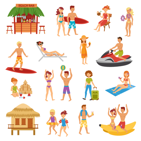 sunbed: Beach flat icons set with people on summer vacations isolated vector illustration Illustration