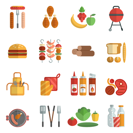 frill: Bbq party flat icons set with frill meat picnic elements isolated vector illustration Illustration