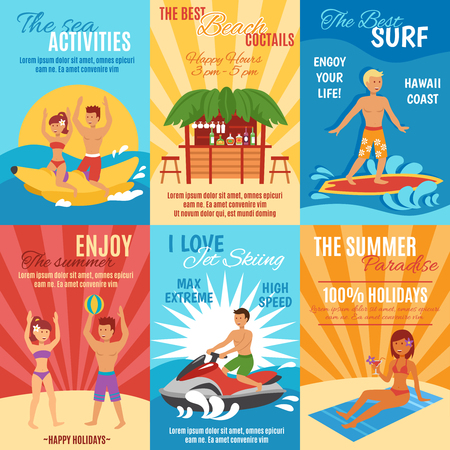 couple beach sunset: Summer beach vacation mini poster set with sport and leisure activities isolated vector illustration