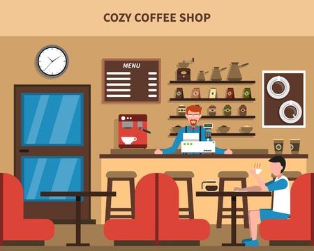 bar interior: Cozy coffee shop bar interior retro style flat banner with barmen menu and customer abstract vector illustrat