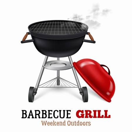Portable barbecue grill with a lid for weekend outdoors realistic vector illustration Illustration