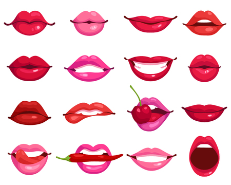 labios sexy: Rojo y rosa y besar los labios sonrientes de dibujos animados iconos decorativos aislados de ilustraci�n vectorial partido presentaci�n Vectores