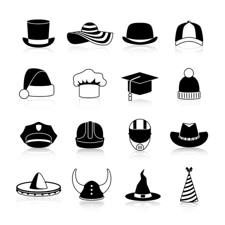 bowler hats: Hats and caps black icons set of motorcycle helmet bowler  baseball cap straw hat halloween and cowboy hats clown and winter sports caps isolated vector illustration Illustration
