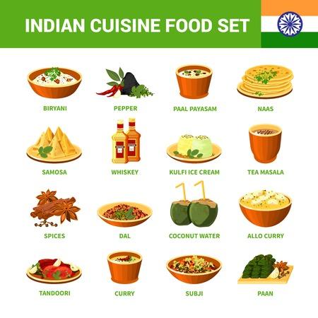 異なる料理入りインド料理食品スパイスし、分離ベクトル図を飲む