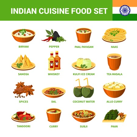cuisine: Indian cuisine food set with different dishes spices and drinks isolated vector illustration