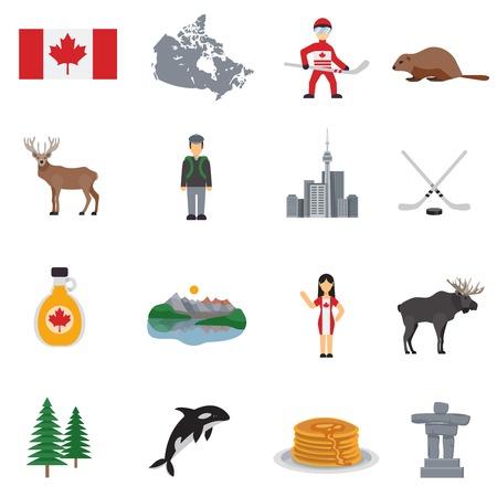 Canada vlakke pictogrammen set met kaart vlag hockey meren ahornsiroop toren en geïsoleerd dieren vector illustratie