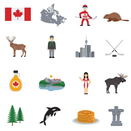 Kanada flache Ikonen mit Karte Flagge Hockey Seen Ahornsirup Turm gesetzt und Tiere Vektor-Illustration isoliert