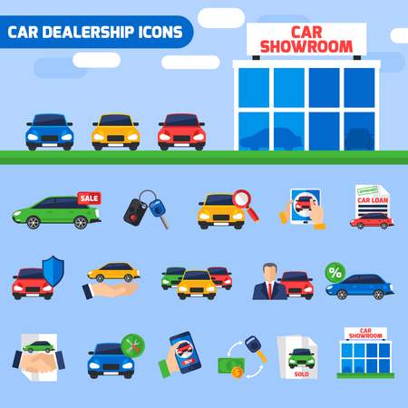 dealership: Car dealership center flat icons composition with new vehicles showroom and sale deal pictograms abstract vector illustration Illustration