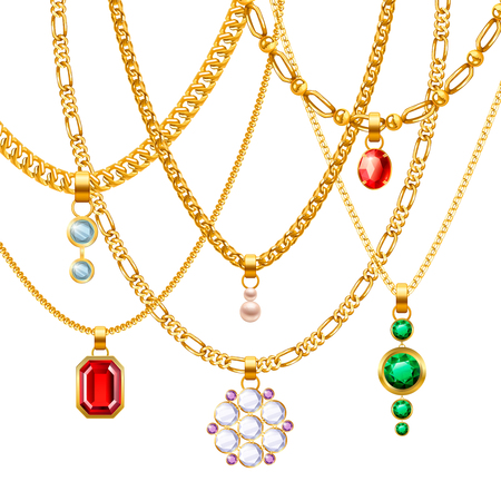 stone work: Golden jewelry chains set with different pendants realistic vector illustration Illustration