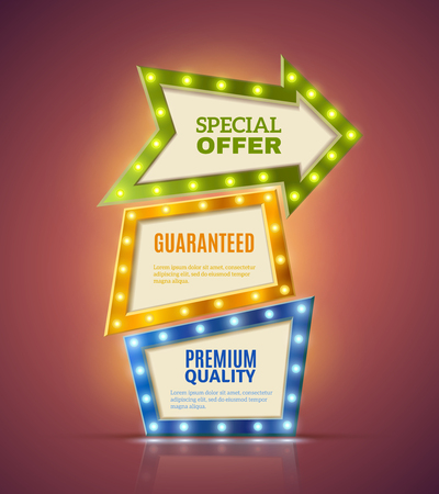 the offer: Light premium realistic banners set with special offer symbols isolated vector illustration Illustration