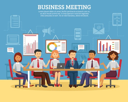 conference room meeting: Business meeting concept with people chatting in conference room flat vector illustration