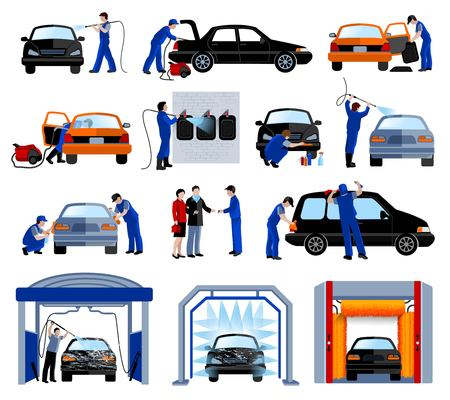 tunnels: Automatic car wash service station flat pictograms set with rotating brushes tunnel abstract isolated vector illustration
