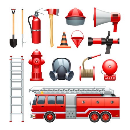 Firefighter tools equipment and engine red realistic icons collection with water house and extinguisher abstract vector illustration