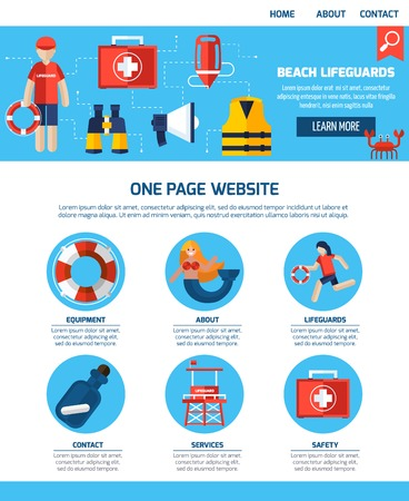 life jackets: Beach lifeguards interactive webpage with infographic elements learn more button and contact information flat abstract vector illustration Illustration