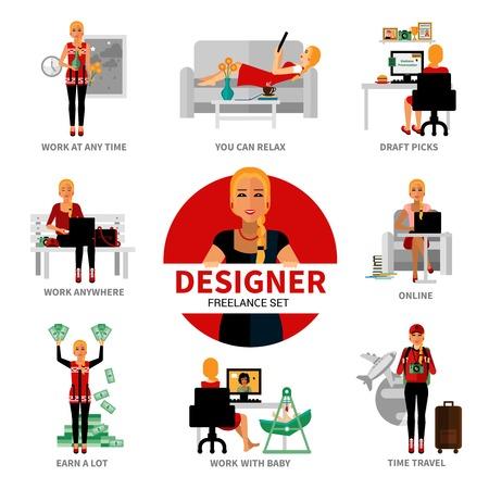 earn money online: Freelance designer set with different advantages of work isolated vector illustration Illustration