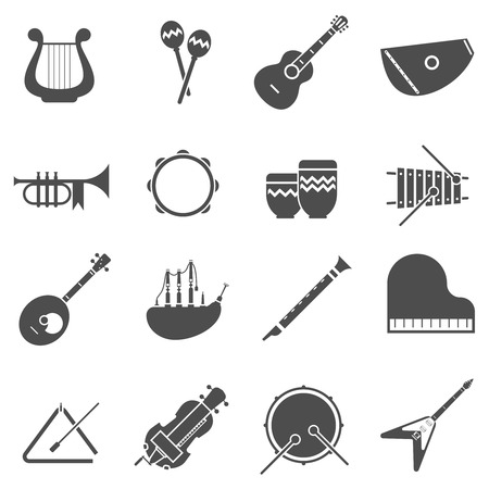 lyre: Musical instruments black white icons set with flute and bagpipe flat isolated vector illustration Illustration
