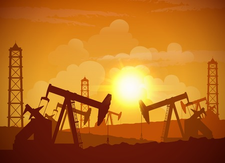 oilfield: Silhouette of an oilfield derrick industrial machine for drilling at sunset background vector illustration