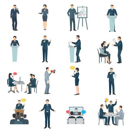 habilidades para hablar en público de recogida iconos plana con presentación de la conferencia ayuda visual y la formación abstracta ilustración vectorial aislado
