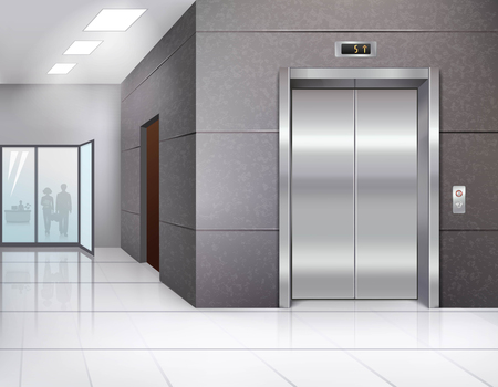 push room: Office building hall with shining floor and metal chrome elevator door realistic vector illustration