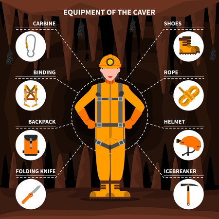 caving: Speleologists caving equipment for underground exploring surveying and protection pictorial infographic elements flat banner abstract vector illustration