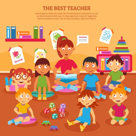 listening: Young kindergarten teacher reading to class of kids in the classroom vector illustration