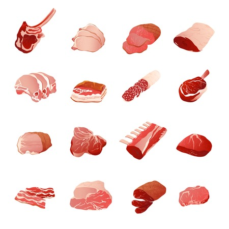 fillet: Meat products icons set with sausage ribs and fillet flat isolated vector illustration