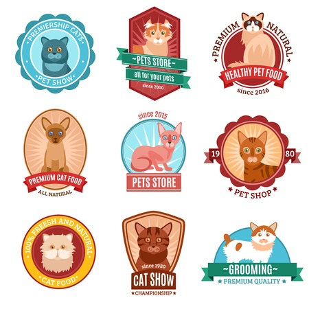 bombay: Cats emblem set with pet shop and veterinary clinic symbols isolated vector illustration