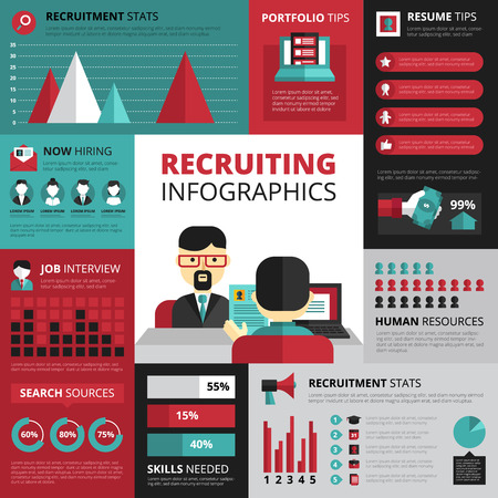 Jobs search strategy for employment and successful career with recruitment statistics and resume tips infographics design vector illustration Illustration