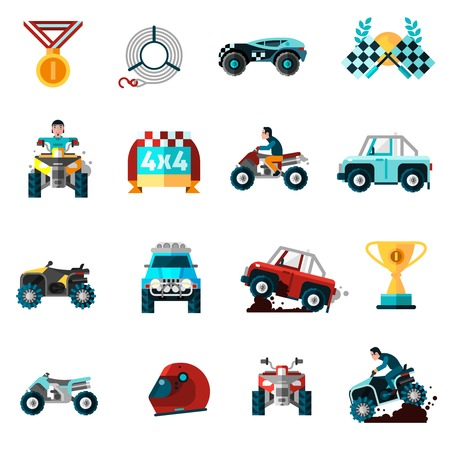 blog icon: Offroad icons set with cars bikes and awards flat isolated vector illustration