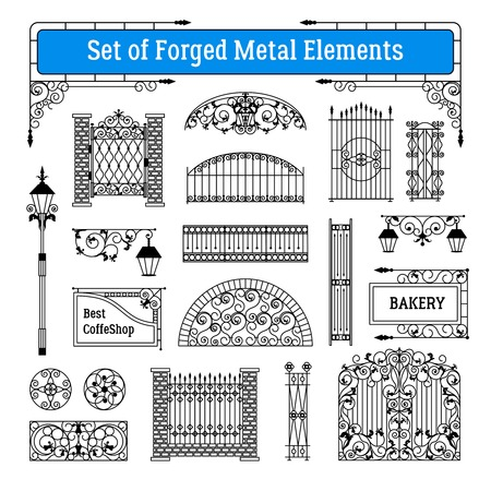 Forged metal elements black white set with gates and street lamps flat isolated vector illustration