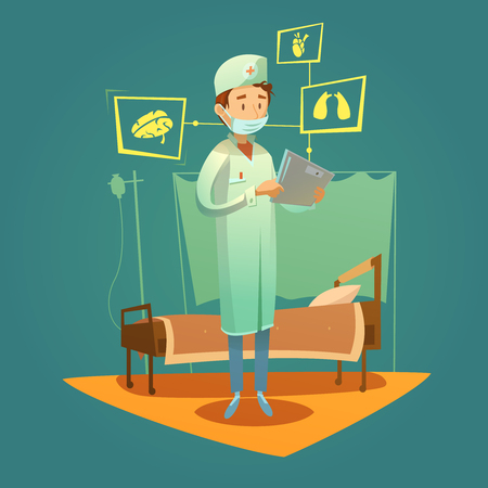 diagnosis: Doctor and high tech healthcare online diagnosis in the hospital ward vector illustration