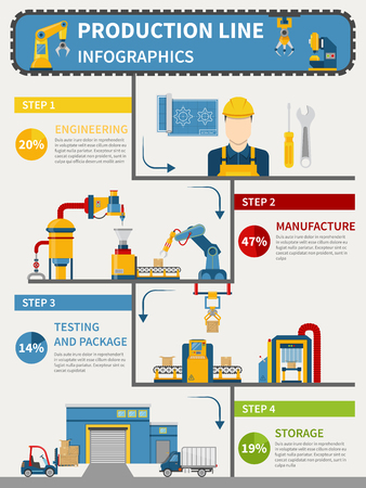 Production line infographics with engineering manufacture testing and package storage vector illustration Vectores