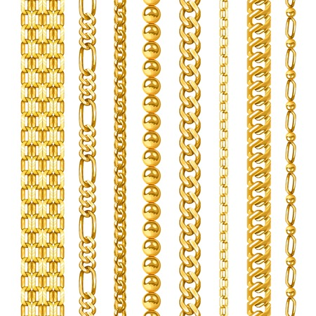 Jewelry golden chains in different shapes realistic set isolated vector illustration