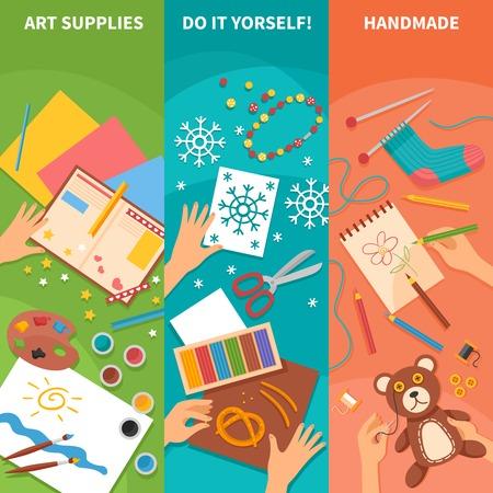 art supplies: Handmade vertical banners with knitting scissors art supplies sketchbook and pencils elements flat vector illustration