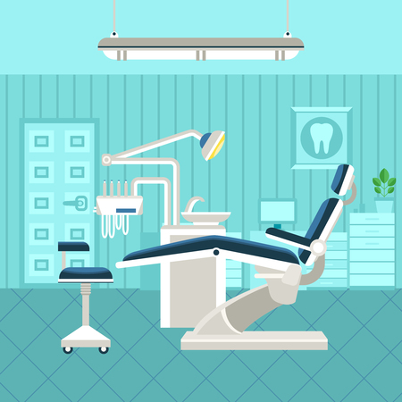 Flat poster of dental room interior with dentist chair lamp and drilling machine vector illustration Ilustração