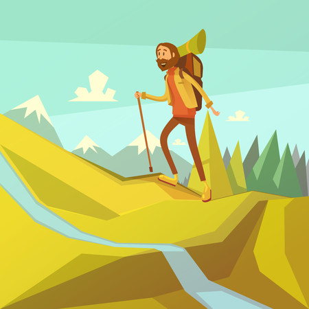 mountaineering: Hiking and mountaineering cartoon background with river peaks and forest vector illustration Illustration