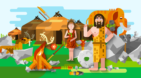 stone age: Prehistoric stone age caveman composition in cartoon style with primitive people fire mammoth and ancient settlement on background flat vector illustration