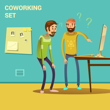 problem solution: Coworking set with problem solving and solution symbols cartoon vector illustration