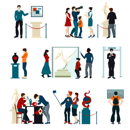 art museum: Flat color icons set of people visiting exhibition in museum and gallery isolated vector illustration