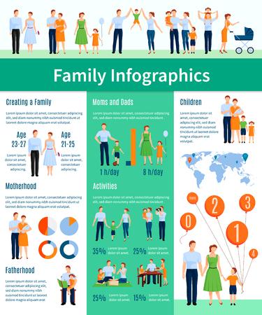 family life: Family infographic set with motherhood and fatherhood symbols flat vector illustration