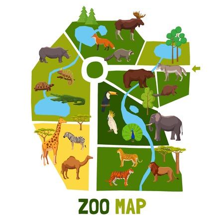 アフリカの動物熱帯の鳥と大河フラット ベクトル図の住民を持つ漫画動物園マップ