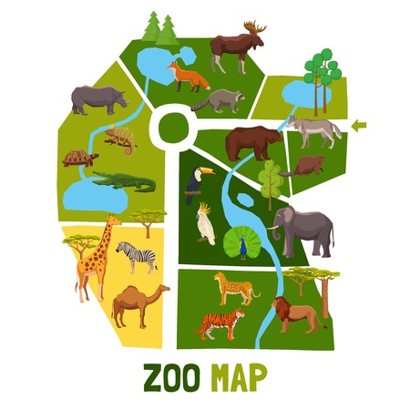 zoologico: mapa del zoo de dibujos animados con animales africanos aves tropicales y habitantes de ilustración vectorial plana taiga Vectores