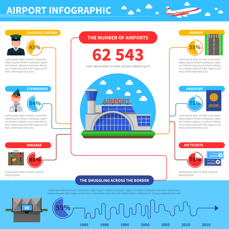 terminal: Work of airport Infographic with data about smuggling across border vector illustration