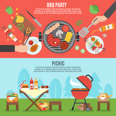 food illustration: BBQ party horizontal banner set with outdoor picnic elements isolated vector illustration