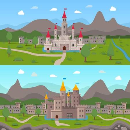 chateau: Two horizontal cartoon compositions with medieval ancient castles and fortress walls with loopholes on mountains background flat vector illustration Illustration