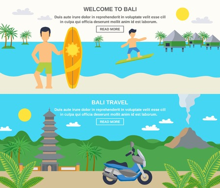 bali: Bali travel banners surfing and sightseeing isolated vector illustration